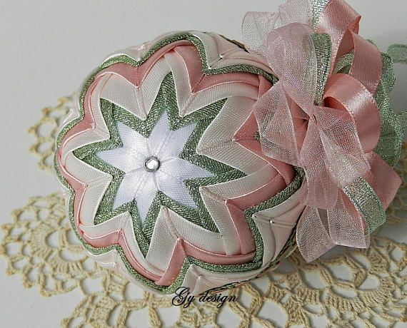 This Christmas quilted ornament is made with mint green-silver sparkle ribbon and shades of pink satin ribbon using techniques patchwork ( pineapple). The interesting band has the same colors like I used on bauble. This bauble is create on my own unique design and is carefully handmade with love. It is a very delicate ball with an interesting combination of organza and satin ribbon on the top. It will sparkle on your Christmas tree or can displayed on a stand in your living. Its a perfect…