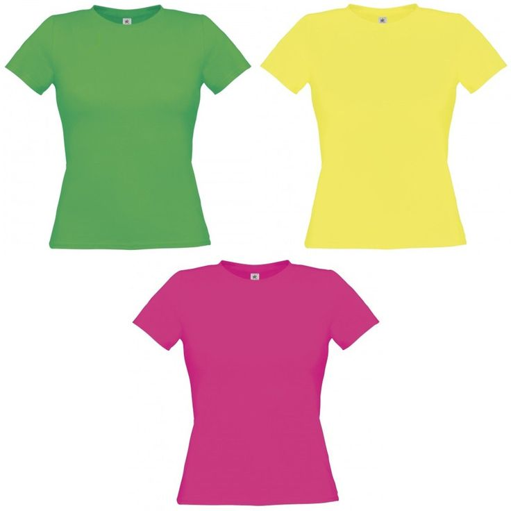 B&C Womens/Ladies Short Sleeve Polycotton Neon Colors T-Shirt