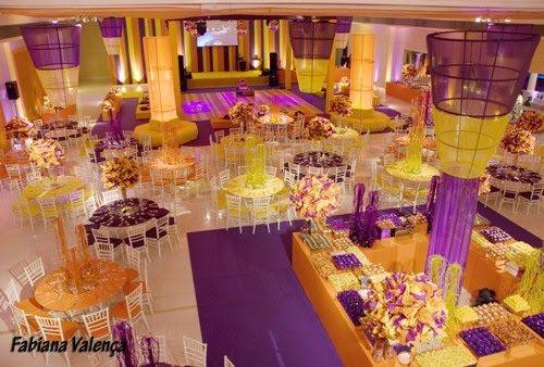 Festa De 15 Anos Ideas: Decoração De 15 Anos Roxo E Amarelo