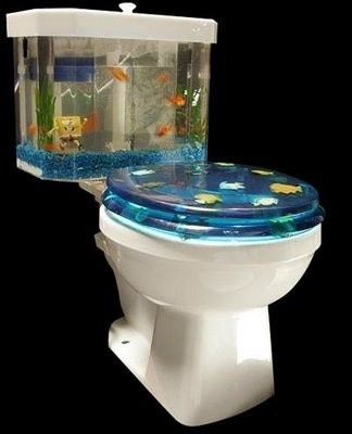 Fishtank-themed toilet