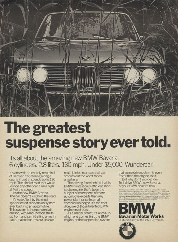 1971 BMW Bavaria Car Ad Bavarian Motor Works by AdVintageCom