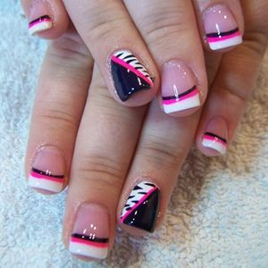 Pink, white and black french tip nail design with animal print accent nails