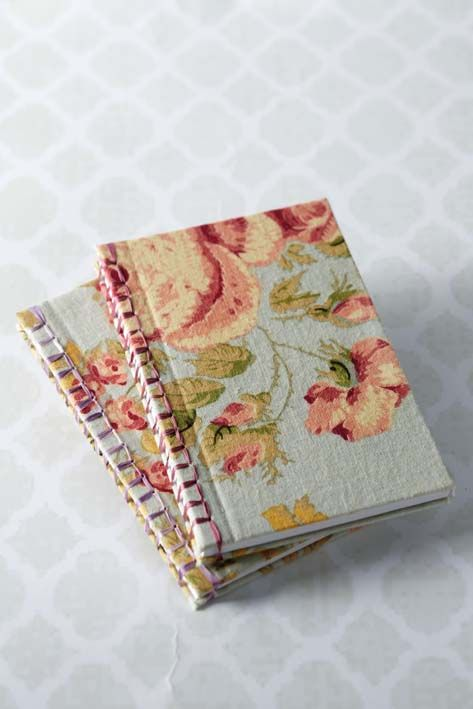 very nice tutorial for fabric covered book and japanese stab binding...really pretty