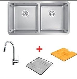 Abey Lago Inset (Drop In) Double Bowl Sink Package with Gooseneck Pull Out Mixer 840mm x 450mm x 200mm