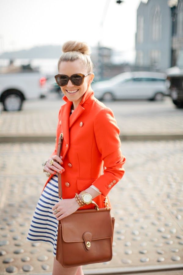 : Coach Pur, Coach Bags, Color Combos, Style, Navy Stripes, Bright Colour, Blazers, Red Coats, Orange Jackets