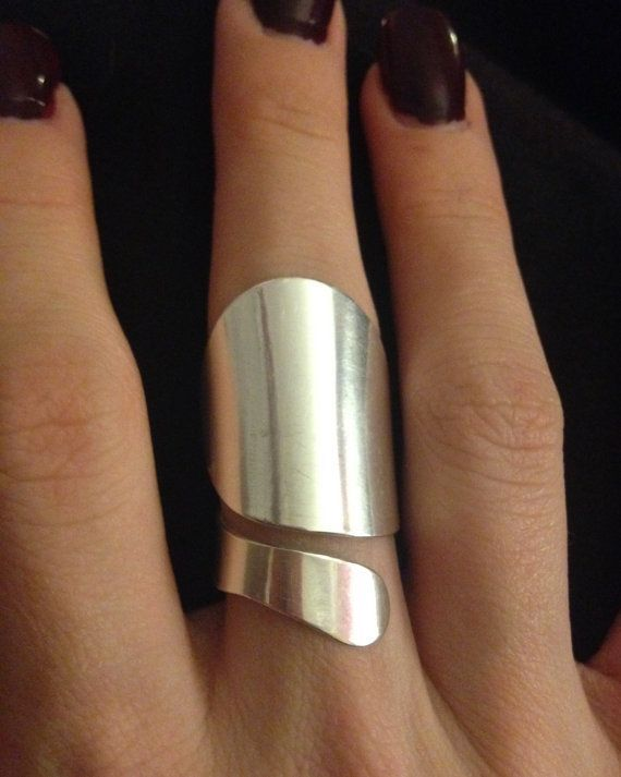 awesome Sterling Silver Contemporary Statement Ring - Valentine- Adjustable size