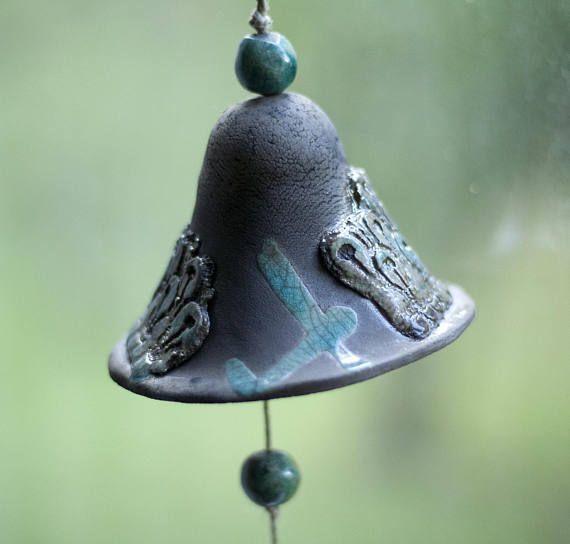 Ceramic bell ceramic raku blue turquoise black handmade