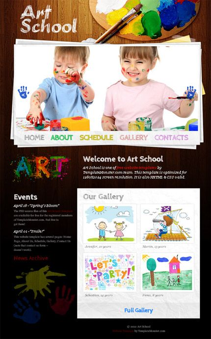 Free Website Template for Art School