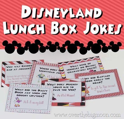 Disneyland  Lunch Box Jokes!!   also envelopes to make a Disneyland Joke Countdown!!