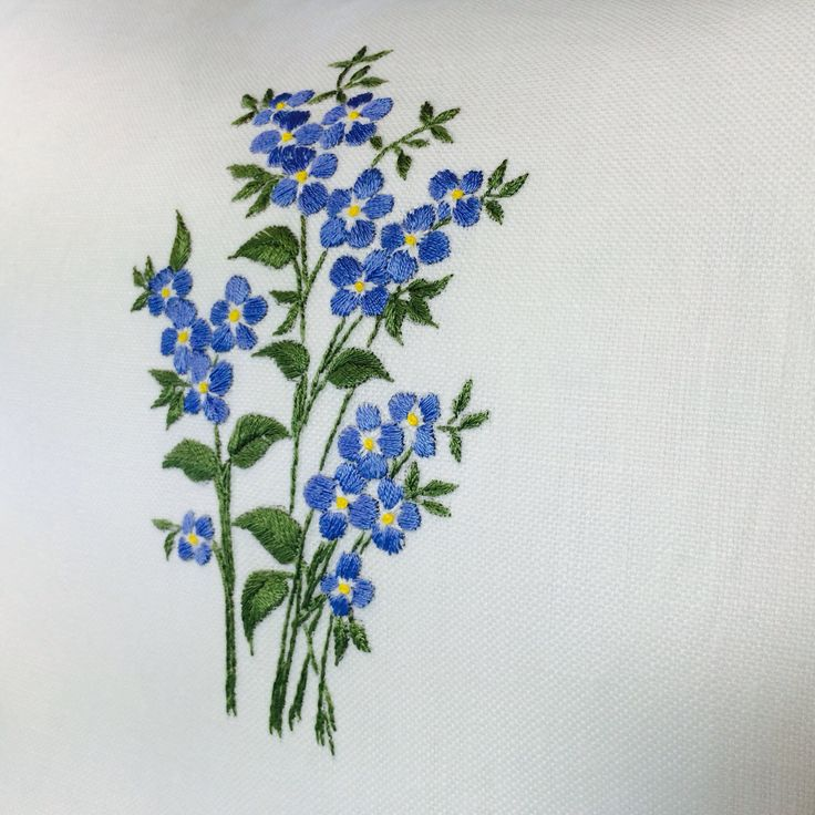 Forget-me-nots Etsy.com Handembroiderypillow