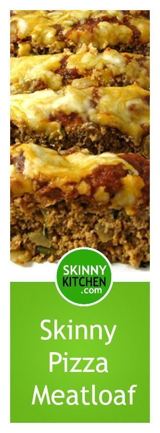 Skinny Pizza Meatloaf. Each dreamy, 2 slice serving has 225 calories, 6g fat & 6 SmartPoints. http://www.skinnykitchen.com/recipes/skinny-pizza-meatloaf/