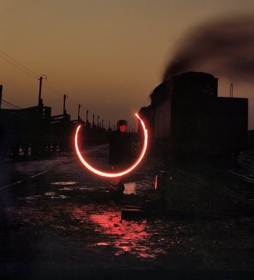 """January 1943. Calumet City, Ill. """"This signal means stop"""" 4x5 Kodachrome transparency by Jack Delano."""