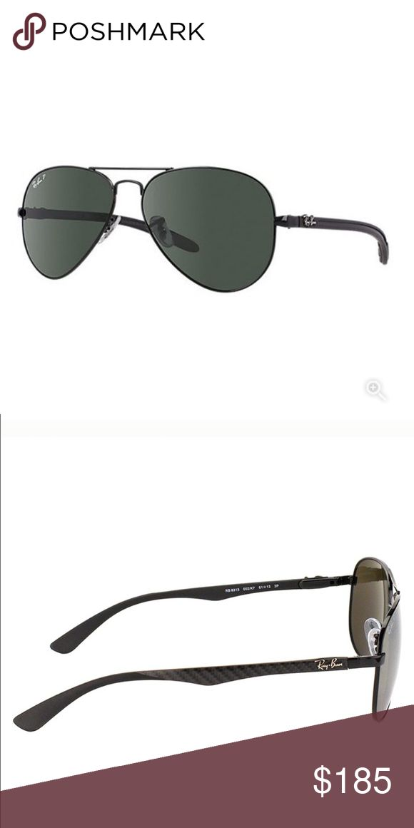 Ray-Ban Unisex Carbon Fiber Aviator 🕶 EUC. No scratches or damage. Tech RB 8313 002/K7 Black Carbon Fiber frames.  Lenses: polarized green classic. Innovative Tech Sunglasses series. Made from cutting edge materials in sunglasses, Aviator Carbon Fibre RB8307 is lightweight. Carbon fibre and resin composite materials used in its construction weigh less than an ounce and provide extreme durability. Classic Aviator details of slim temples, the trademark double brow bar, rubber padded tips…