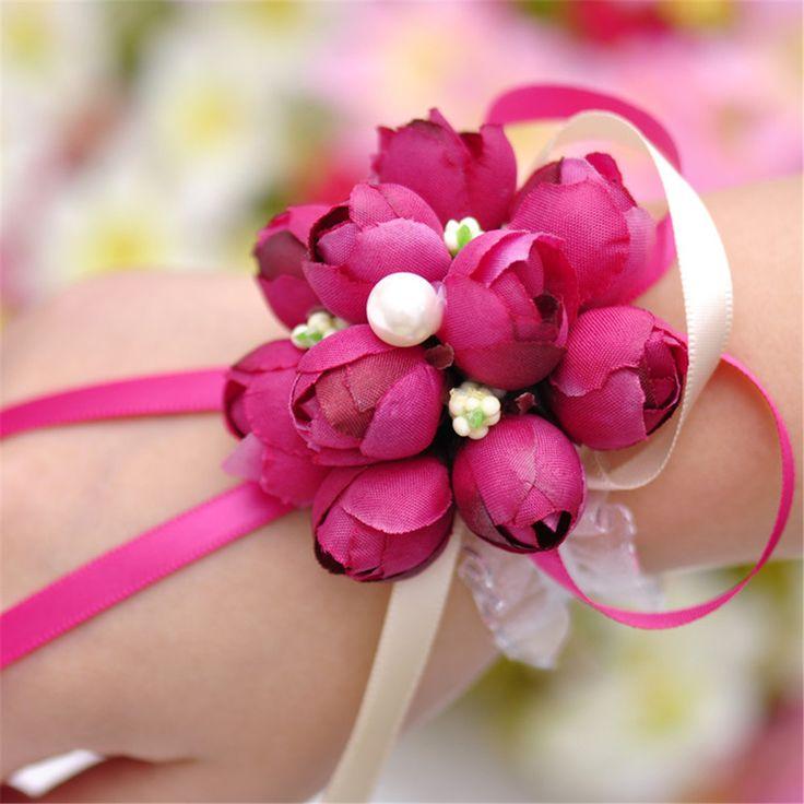 1 pc lụa đám cưới Bridal Bridesmaid Handmade Bouquet tay Flowers corsages cổ tay trong  &nbsp từ Trang trí hoa & vòng hoa trên AliExpress.com