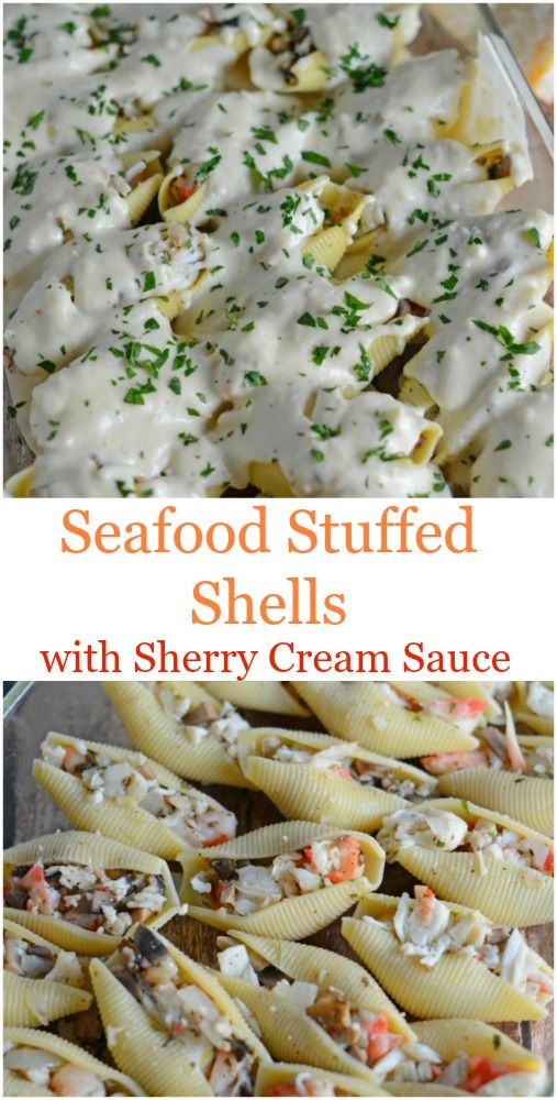 Seafood Stuffed Shells in a Sherry Cream Sauce Recipe- buttery crab, shrimp, sherry spiked cream sauce, mushrooms and parsley. One of Pinterest's most pinned recipes! www.savoryexperiments.com