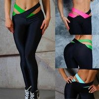 Wish | Women Sexy Skinny Elastic Leggings Patchwork Yoga Pants Sport Trousers
