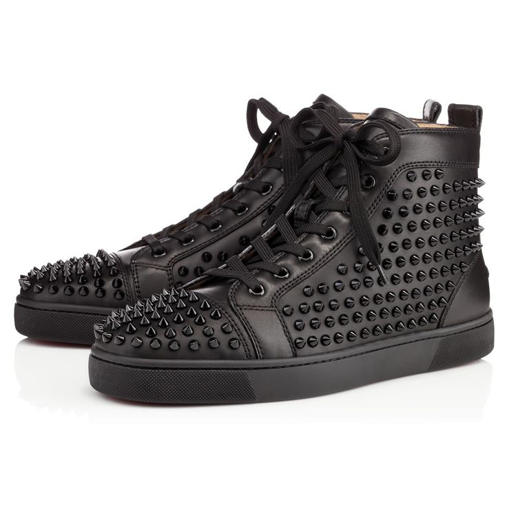 CHRISTIAN LOUBOUTIN Louis Calf/Spikes, Black, Calfskin, Men Shoes, Louboutin.. #christianlouboutin #shoes #
