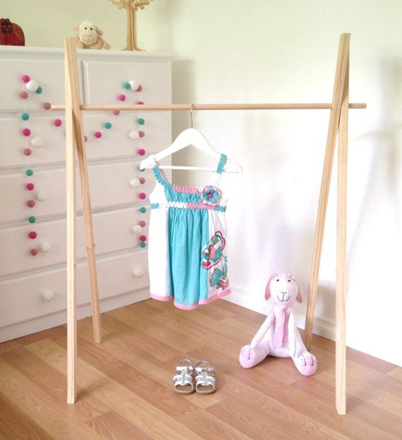 Children's Clothes Rack Solid Timber with by Feltballgarlands