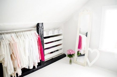 Attic closet- love the white, a possible DIY project for me!