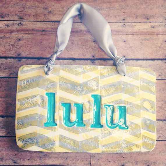 Ceramic Baby Name Wall Hanging in Chevron by InGodWeTrustCeramics