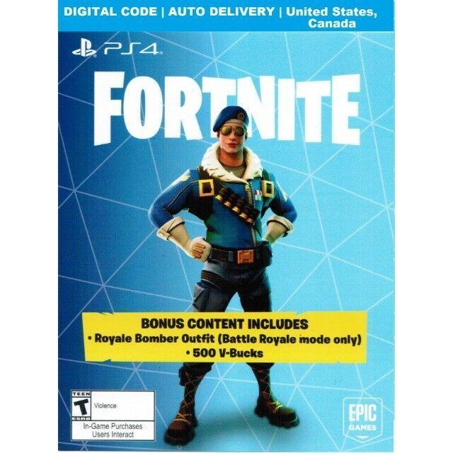 Fortnite Royale Bomber Epic Outfit Skin500 V Bucks Code Ps4