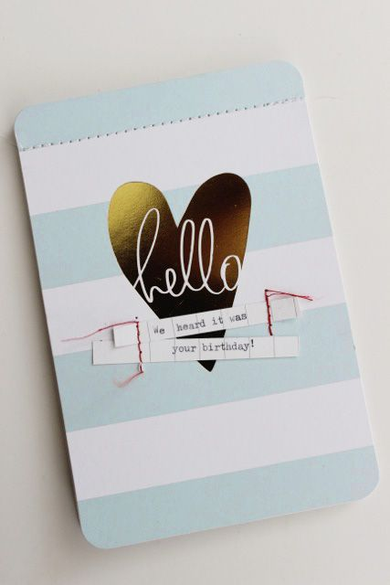 A lightning quick birthday card tutorial using Heidi's gold foil Project Life cards.. now on the Jot blog.