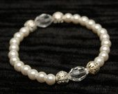 Faux Pearls and Clear Glass Crystal Bracelet