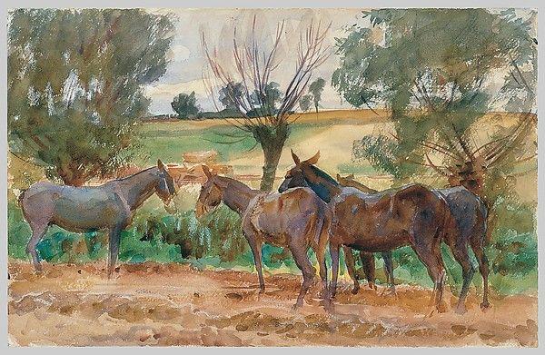 Mules. Artist: John Singer Sargent (American, Florence 1856–1925 London). Date: 1918. Courtesy: © The Metropolitan Museum of Art. New York, New York (USA).