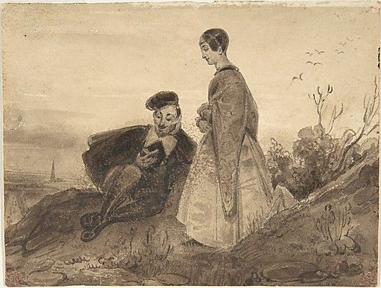 Fancy Man and Woman in a Landscape possibly Faust and Marguerite Richard Parkes Bonington British