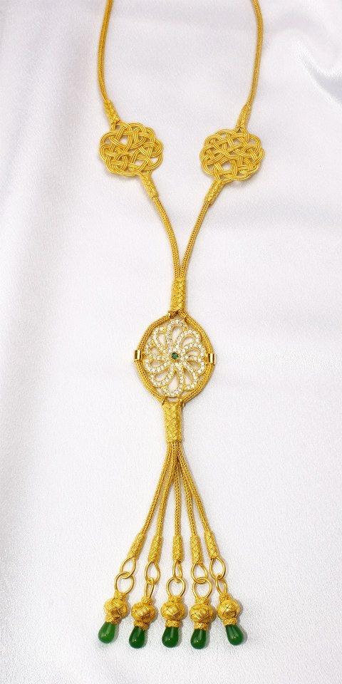 Gold & Silver Kazaziye Necklace with Stones