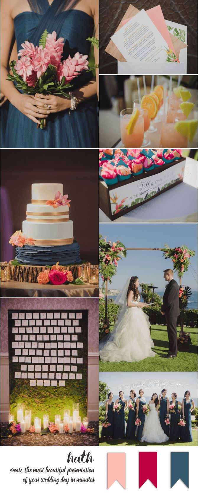 Lapis Blue, Fuscia and Pink Laguna Beach, CA wedding at the Montage Hotel   Photography: Iris & Light   www.hathwed.com - Create the most beautiful online presentation of your wedding day in minutes to share with family & friends