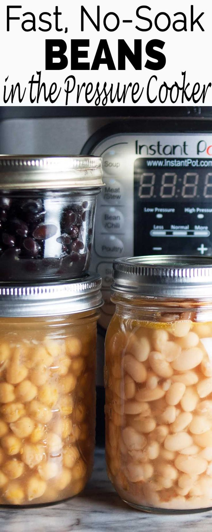 No need to soak your beans! You can make a fresh pot of beans in the pressure cooker in about an hour.