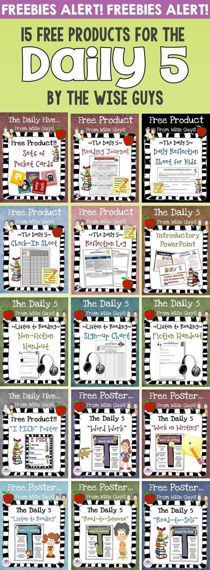 Here are 15 FREE Daily 5 Resources to use in your classroom with your intermediate grade students. Click through now to see all the great freebies for 3rd, 4th, 5th, and 6th grade classroom or home school students! {third, fourth, fifth, sixth graders, freebie, upper elementary}