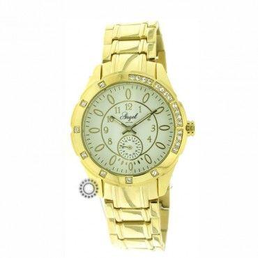 Γυναικείο ρολόι quartz ANGEL με λευκό καντράν και επίχρυσο μπρασελέ. Εγγύηση 2 ετών της επίσημης αντιπροσωπείας #angel #χρυσο #μπρασελε #γυναικειο #ρολοι
