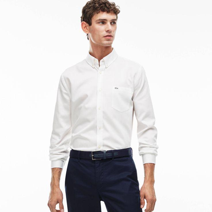 LACOSTE Men'S Mini Piqué Cotton Shirt - White/White. #lacoste #cloth #all