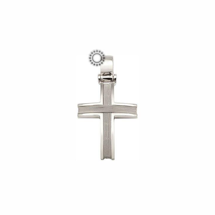 Χειροποίητος σταυρός βάπτισης για αγόρι λευκόχρυσος Κ14 πλεγμένος με λεπτό ματ σύρμα και γυαλιστερό πλαίσιο | Βαπτιστικοί σταυροί ΤΣΑΛΔΑΡΗΣ στο Χαλάνδρι #σταυρός #βάπτισης #χειροποίητος #αγόρια