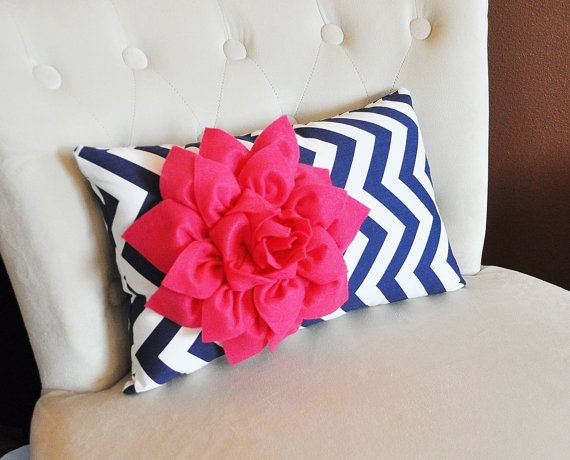 navy hot pink chevron girl bedroom  | Chevron Lumbar Pillow Hot Pink Dahlia on Navy Blue and White Zig Zag ...
