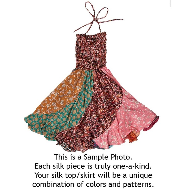 Inspiration for slanted patchwork skirt (this is made from recycled Indian saris): Patchwork Skirt/Top | PW535 | Jedzebel