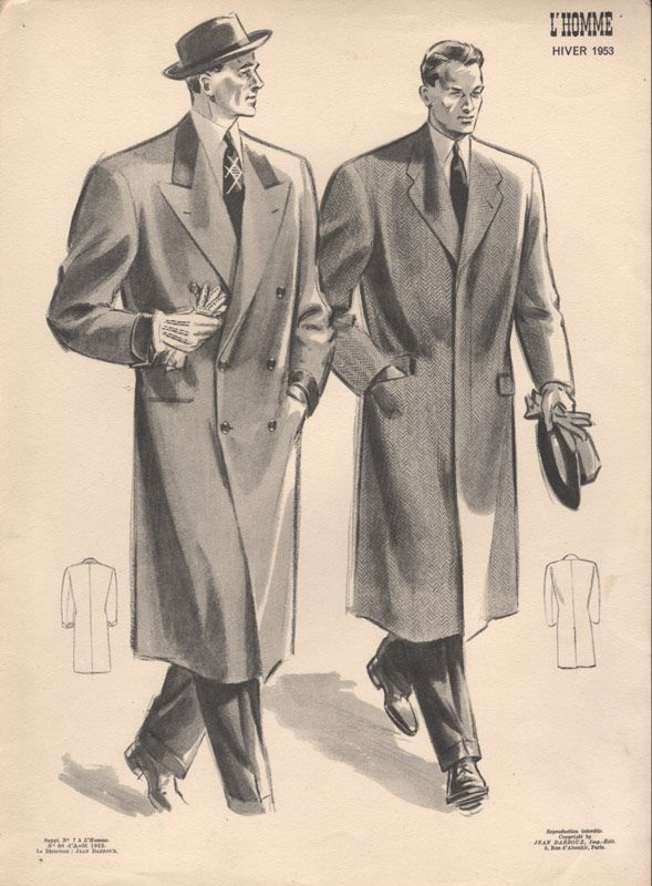 Men's Fashions from 1953 with two men in long coats, hats and gloves. From CollectorsPrints.com