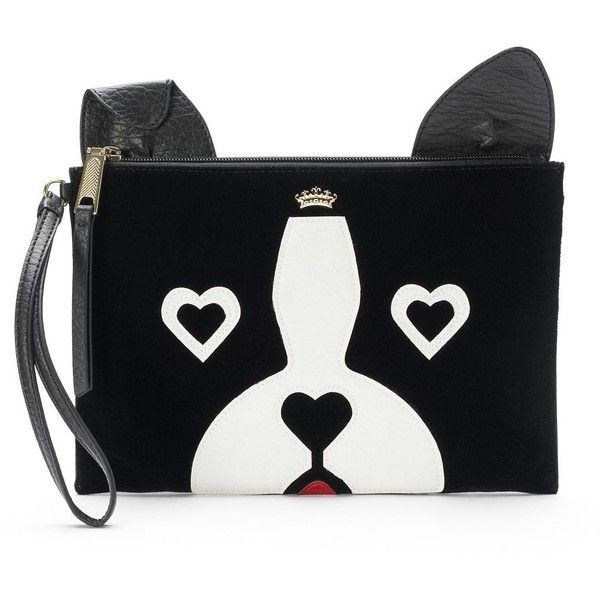 Juicy Couture French Bulldog Wristlet ($20) ❤ liked on Polyvore featuring bags, handbags, clutches, grey, clasp purse, clasp handbag, hand bags, juicy couture and zip wristlet