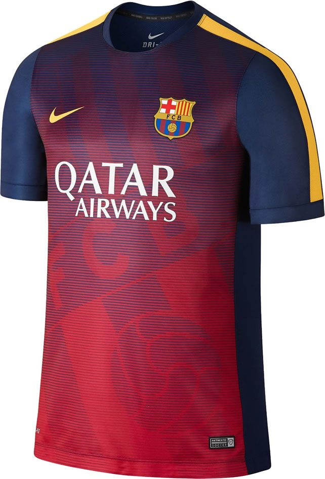 The new Nike FC Barcelona 2015 Pre-Match Kit introduces a spectacular  design for the Catalan club. The FC Barcelona 2015 Training II Shirt is  purple.