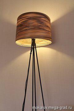Торшер - абажур натуральный шпон из древесины Амбрового дерева - изделия из дерева, авторский светильник/лампа для интерьера. МегаГрад - портал авторской ручной работы