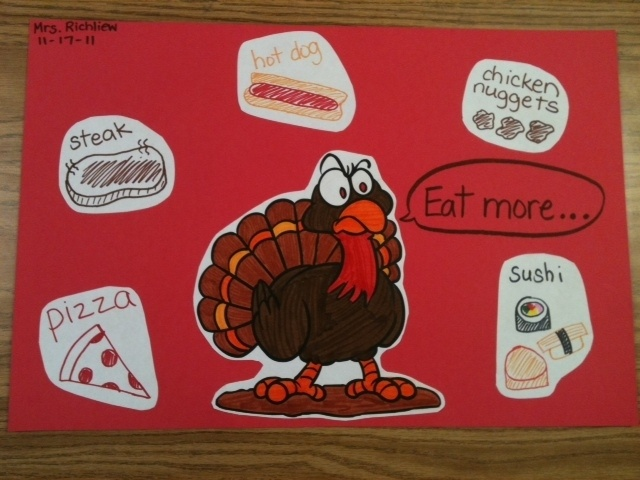 """""""Eat More ____"""" Thanksgiving writing activity"""