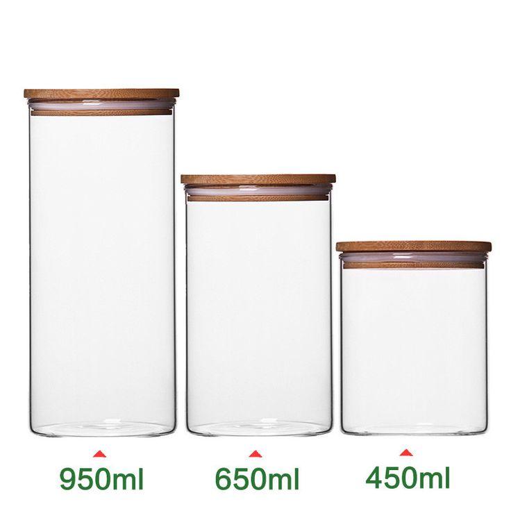 Tampion Getreide Glasflaschen Blume Tee Lebensmittel Lagerung Flaschen Verschlossenen Dosen Glas Vorratsgläser mit Bambus Kappe