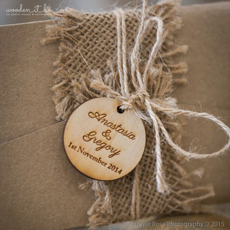 Round Wedding Detail Swing Tags AU$3.00  Add a beautiful touch to your wedding invitations with a rustic swing tag. Your names and wedding date are intricately etched into the plywood creating a gorgeous swing tag that will leave a lasting i...