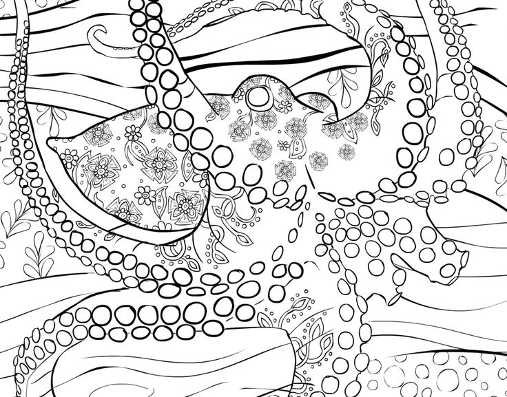 Adult coloring page to print and download by selahworksart