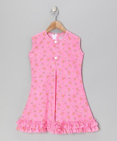 Take a look at this Pink Butterfly & Bow Ruffle Sundress - Infant, Toddler & Girls by Vintage Circus on #zulily today!