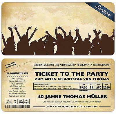 Vintage Einladungskarten Zum Geburtstag   Eintrittskarte   Ticket    Einladung