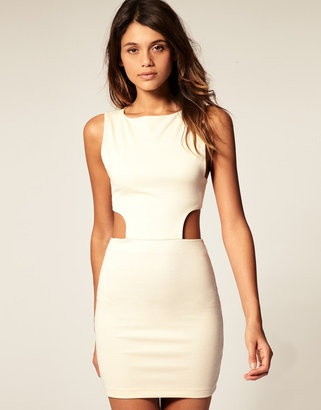 ASOS cut out sides cream dress