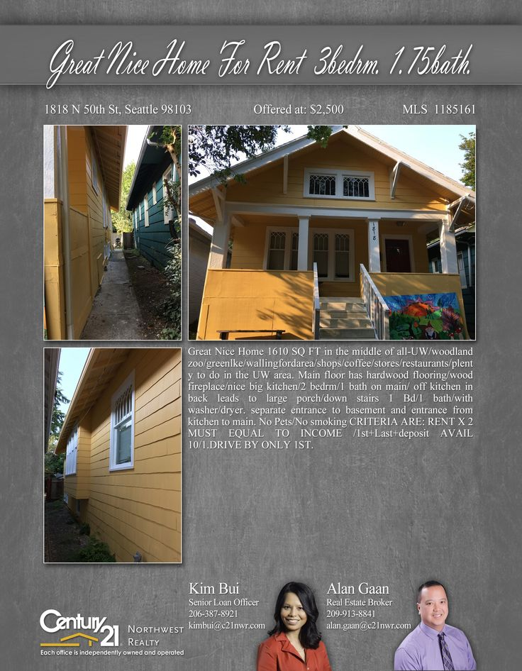 PRICE CHANGE  Great Nice Home 1610 SQ FT in the middle of all-UW/woodland zoo/greenlke/Wallingford area/shops/coffee/stores/restaurants/plenty to do  Contact Kim Bui & Alan Gaan MLS # 1185161 http://1818n50thst.c21.com/